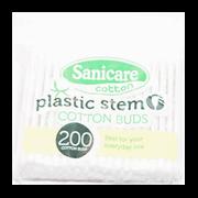 Sanicare Plastic Stem Cotton Buds 200tips