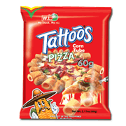 Tattoos Corn Tube Pizza 60g