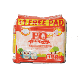 EQ Plus Disposable Diapers XL Extra Large 12s